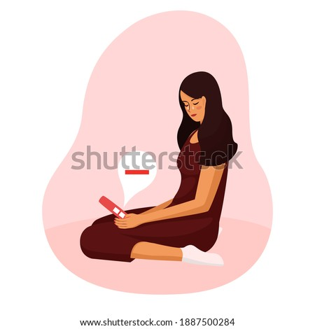 young beautiful woman is looking at pregnancy test. Negative pregnancy test Girl sitting on  floor crying she is not pregnant. In despair. Concept vector illustration flat white background. Infertil Foto stock ©