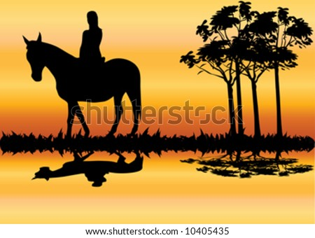 young beautiful woman on horse