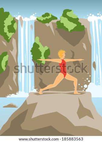 Young beautiful woman practicing warrior yoga asana on summer waterfall landscape vector illustration