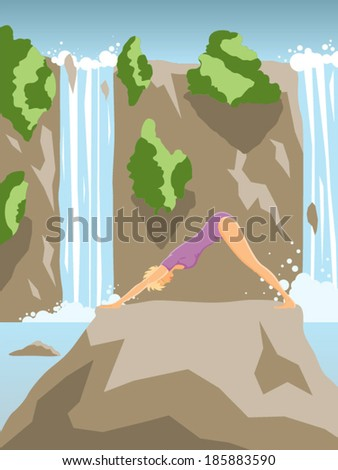 Young beautiful woman practicing yoga asana on summer waterfall landscape vector illustration