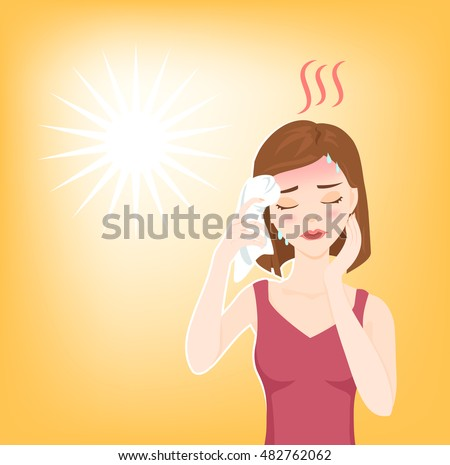 Young beautiful woman suffers from heat stroke, sunstroke, high temperature, sweating, feels dizzy and puts wet towel to her head. Vector illustration.