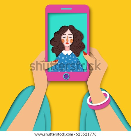 Young beautiful woman taking selfie photo. Smiling hipster girl taking self portrait on smartphone. Close up woman hand holding mobile phone and looking at the screen. Modern digital paper art, Vector