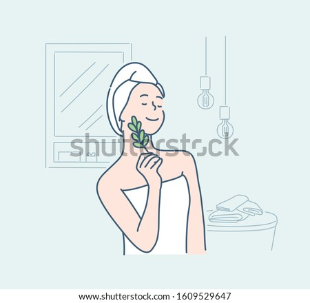 Young beautiful woman wearing shower towel after bath. Natural organic skin care, Hand drawn style vector design illustrations.