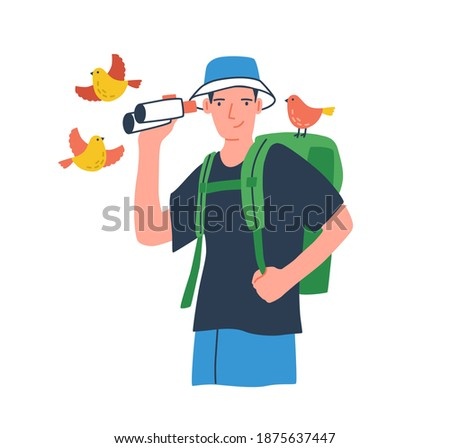 Young birdwatcher at ecotour. Traveler with backpack holding binoculars. Young male ornithologist watching birds. Tourist with naturalist equipment. Flat vector cartoon illustration isolated on white. Zdjęcia stock ©