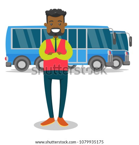 Young black bus driver in uniform standing on the background of buses. Bus driver posing against a blue tourist bus. Vector cartoon illustration isolated on white background. Square layout.