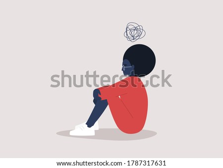 Young black depressed female character sitting on the floor and holding their knees, a cartoon scribble above their head, mental health issues