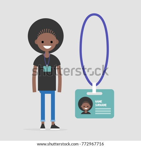 Young black female employee wearing a badge. Personal information. Conference participant. Flat editable vector illustration, clip art