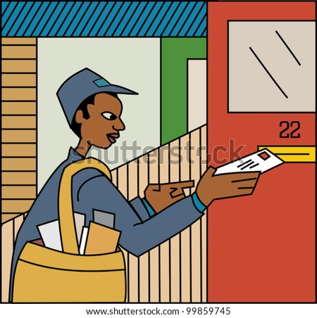 Young black mailman delivering mail