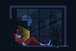 Young black woman at home lying on the windowsill and working on computer. Big city silhouette on background. Remote working, home office, self isolation concept. Flat style illustration