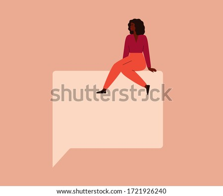 Young black woman sits on a big speech square bubble. Free speech concept. Vector illustration
