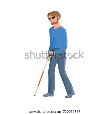young blind caucasian man in