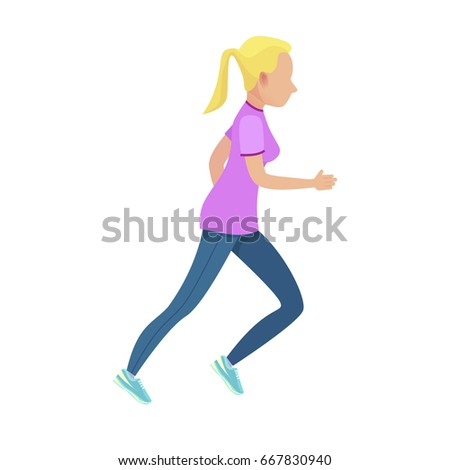 young blonde girl running
