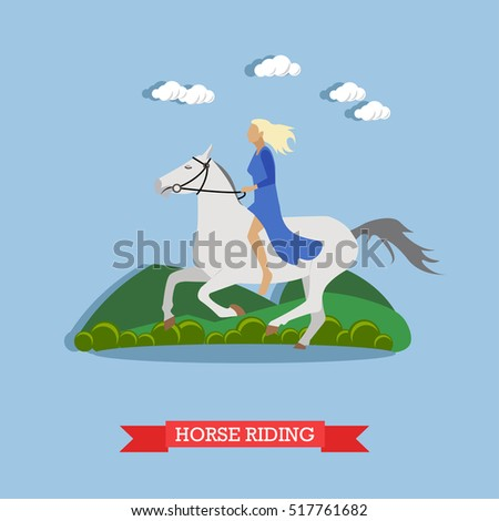 young blonde lady riding white