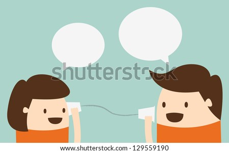 Young boy and girl talking with cup telephone