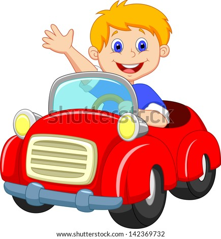Young Boy Driving Car Stock Vector Illustration 142369732