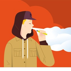 young boy holding electronic cigarette and exhale lots of smoke, young hipster teenager lifestyle concept