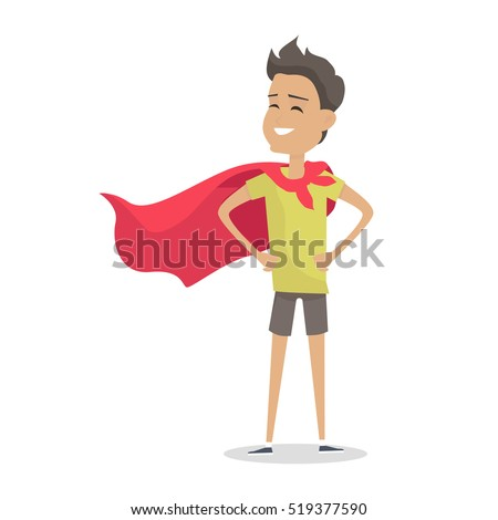 young boy in superman pose