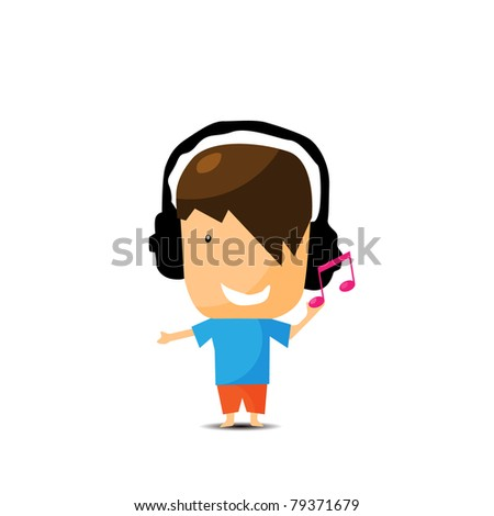 young boy listening music - stock vector