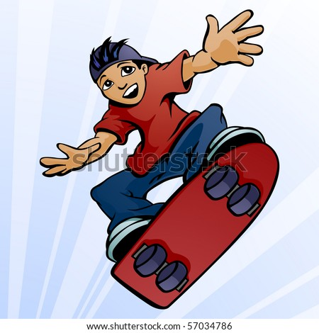 Young boy performing a jump on a skateboard.