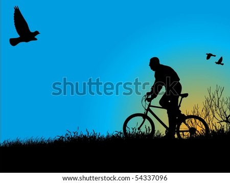 Young boy rides a bicycle recreational through a nature. See similar vector images in my portfolio.
