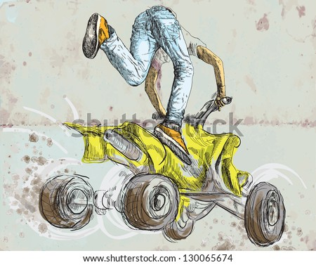 Young boy showing off freestyle trick with his ATV. /// A hand drawn illustration converted into vector. Vector description: No more than 16 colors in each layer - editable in 6 layers.