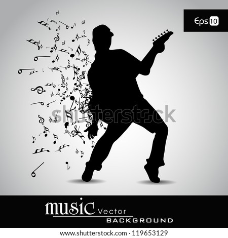 Young boy silhouette and musical notes with burst effect , can be used as flyer or banner for party or events. EPS 10.