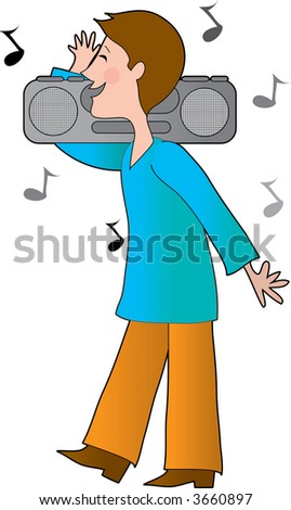 Young boy with a boom box on his shoulders