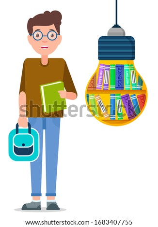 young boy with backpack and