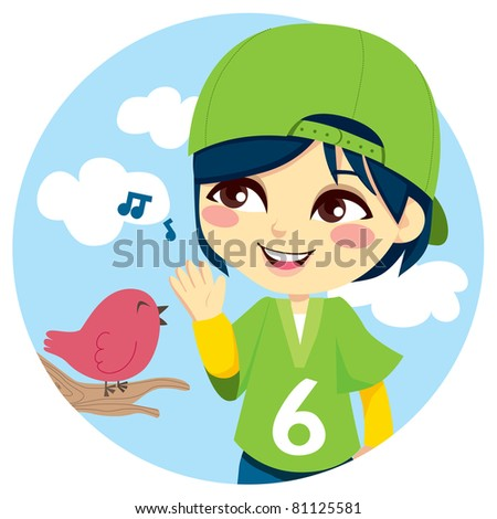 Young boy with green baseball cap listening a cute little bird singing