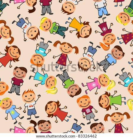Young boys and girls in seamless pattern