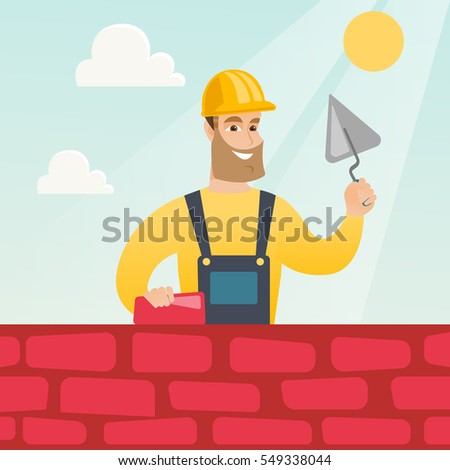 Young Bricklayer In Uniform And Hard Hat Caucasian Bicklayer Working With Spatula Brick On