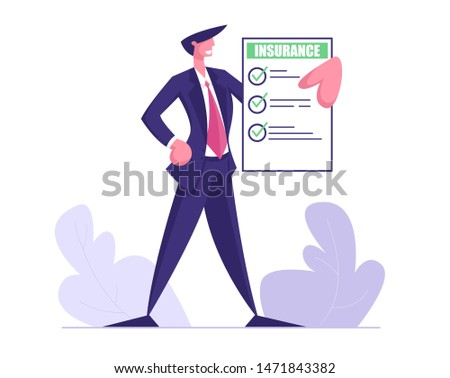 Young Business Man in Formal Suit Hold Insurance Policy Certificate with Green Check Marks. Protect Property Interests of Individual and Legal Entities Insured Events Cartoon Flat Vector Illustration