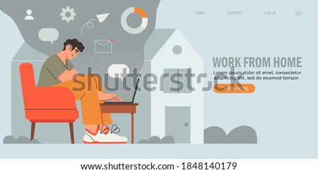 Young Business Man, Programmer, Creative Outsourced Employee Sitting on Chair Working on Laptop. Freelancer working at home. Creative banner, web site page. Home office, freelancing concept.
