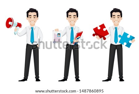 Young business man, set of three poses. Handsome businessman cartoon character holds loudspeaker, holds resume and holds puzzle. Vector illustration