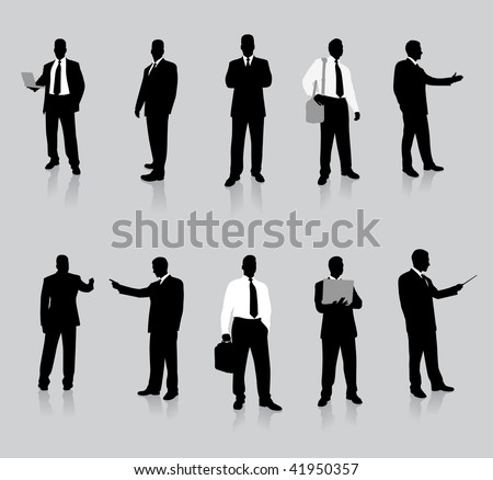 Young business man silhouettes