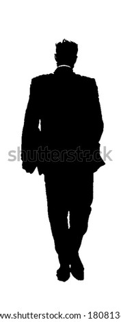 young business man walking silhouette - isolated vector illustration