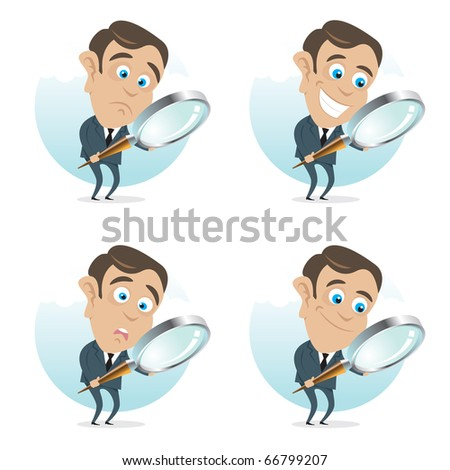 Young business man with a magnifier in hand, four different face expressions. - stock vector