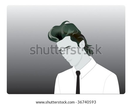 stock vector : Young Business man With Faux Hawk Hairstyle