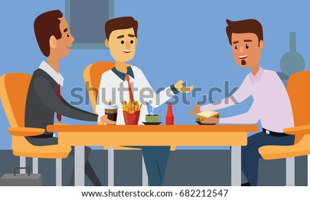 Young business people having lunch together. Colleagues eating in office during lunch break concept illustration vector.
