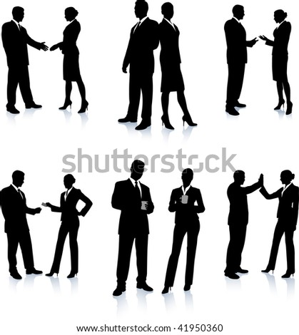 Young business people silhouettes