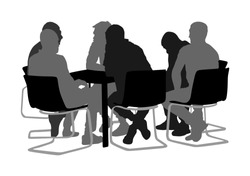 Young business people sitting and talking about new idea silhouette. IT partners meeting. Relaxation after work. Desk table chairs.  Group of friends drinking in bar. Social live. Brain storming team.