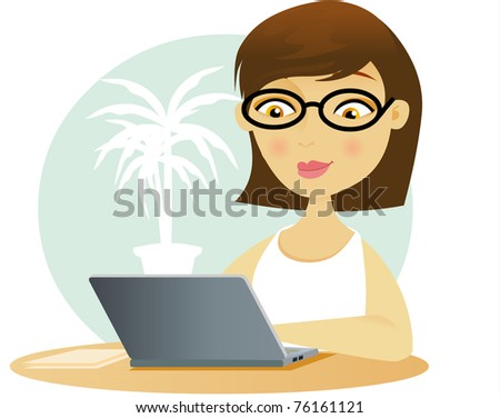 Young business woman working on her laptop - stock vector