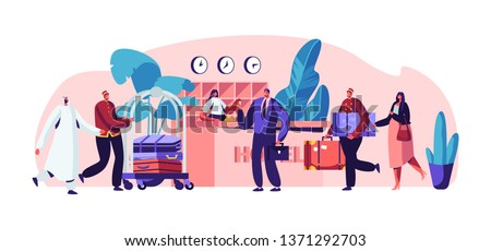 Young Businessman at Hotel Reception. Clerk Standing Behind Desk and Extending Hand with Key to Man. Lobby Interior with Stuff Meeting Arabic and European Guests. Cartoon Flat Vector Illustration