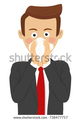 Young businessman blowing his nose in handkerchief. Success in business, job and education concept shot on white