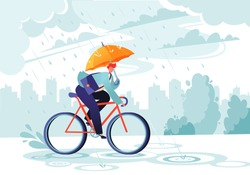 Young businessman going to work under the autumn rain. Businessman with umbrella on bicycle. Responsible worker.    Сoncept of commitment. Eco transport. Autumn time. Windy rainy day with gray clouds.