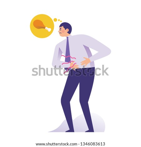 young businessman holding his stomach because of hungry, man has stomach problem and thinking about food, starving concept vector illustration Stock photo ©