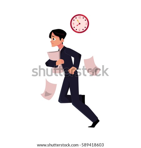 young businessman hurrying to