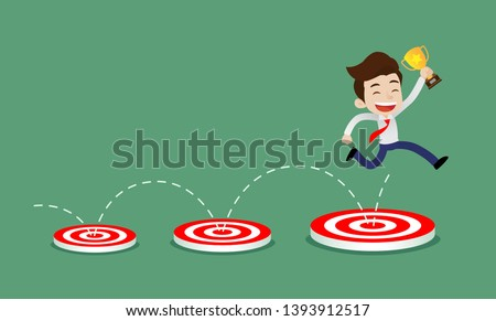 young businessman jumping from