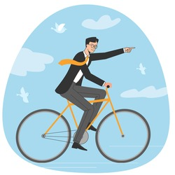 Young businessman move towards the goal riding bike. Stylish guy on bicycle flat vector illustration