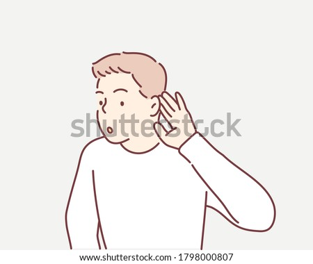 young businessman overhears. Hand drawn style vector design illustrations. ストックフォト ©